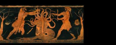 Hércules lucha contra la hidra de Lerna en compañía de Yolao. Cerámica de figuras rojas. 480-470 a.C. Foto: Museo Salinas de Palermo.