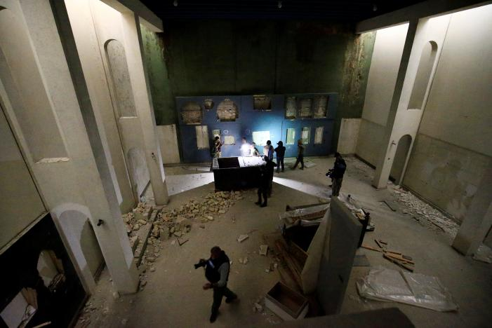 A view of a destroyed museum, where Islamic State militants filmed themselves destroying priceless statues and sculptures in 2015, during a battle against the militants in Mosul