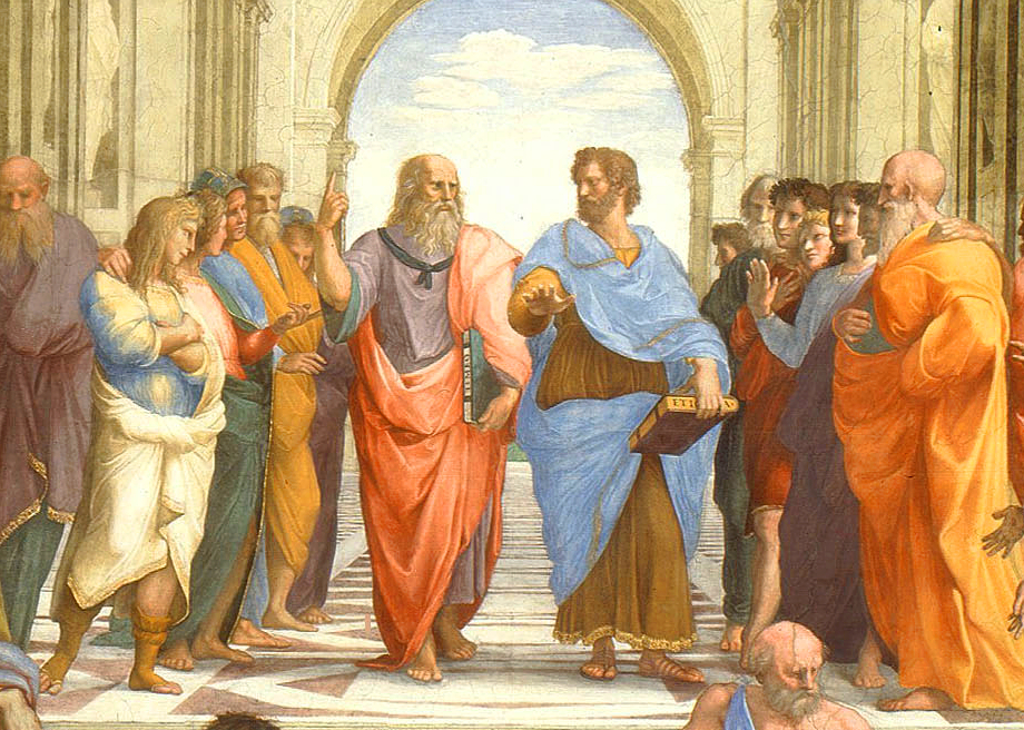 Platón y Aristóteles en el centro de la escuela de Atenas. Fresco. Rafael Sanzio. Museos Vaticanos. Roma.