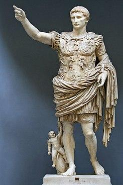"""Augusto de """"Prima Porta"""", estatua de César Augusto en el Museo Chiaramonti de la Ciudad del Vaticano."""